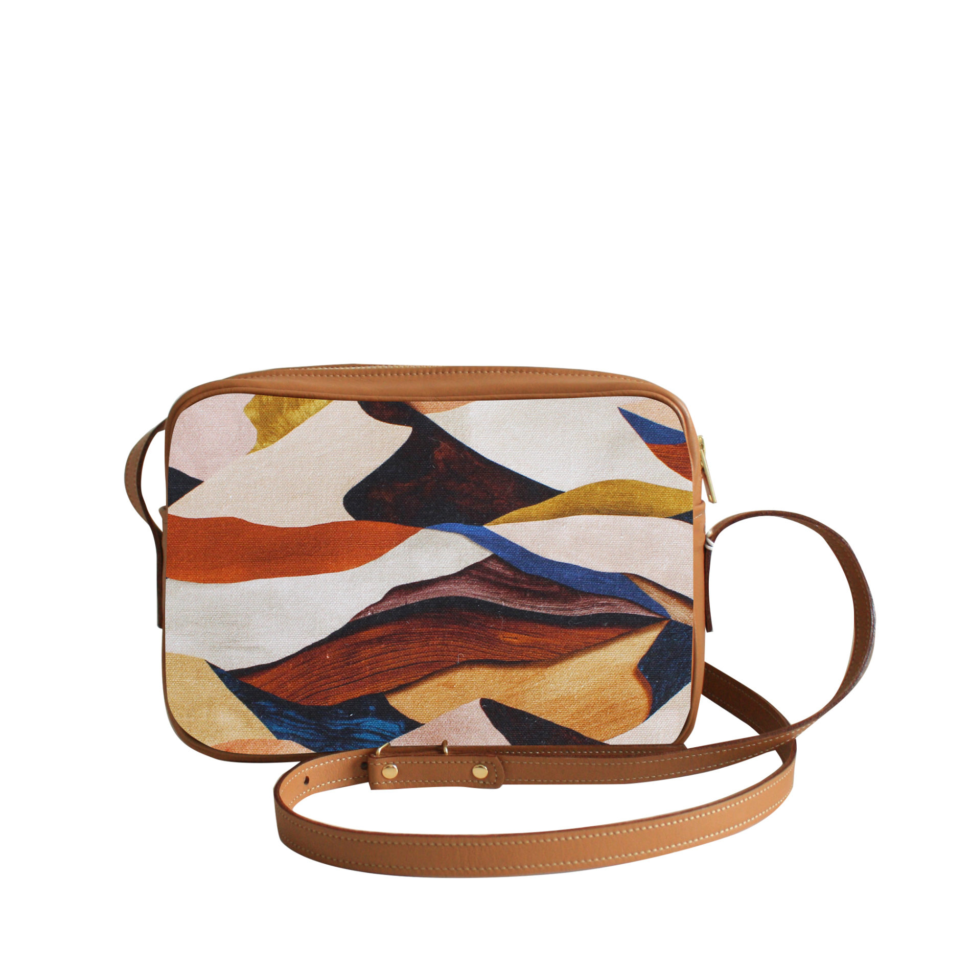 Sac à main Crossbody Graphique n°13 - Cuir Camel